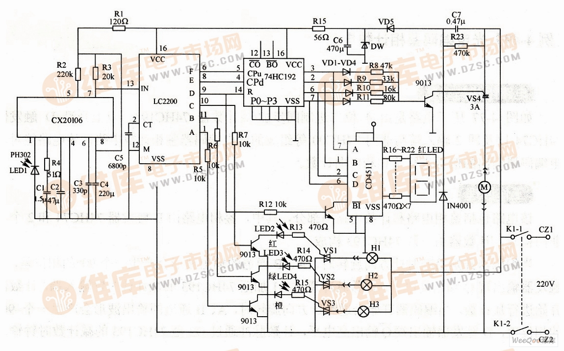 可调速遥控接收电路图