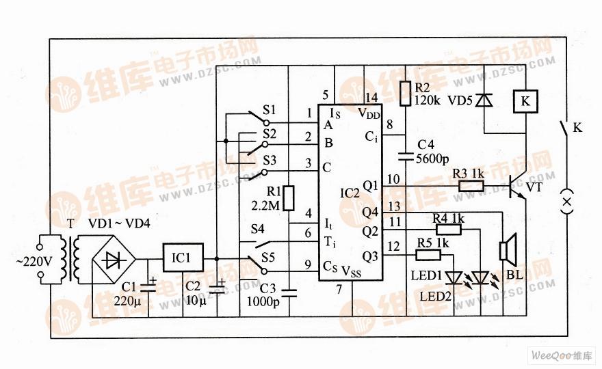 利用XM109构成的小家电定时控制器电路图