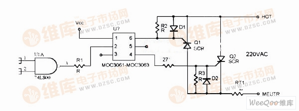 采用MOC3061的可控硅驱动电路图