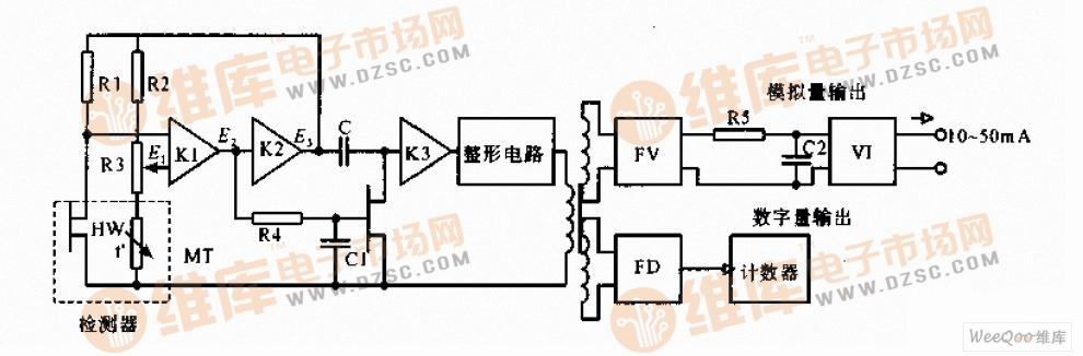 旋涡式流量计的放大电路与转换电路图
