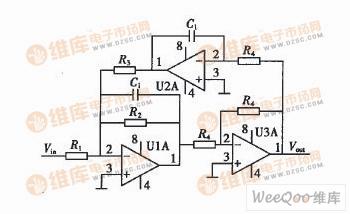 二阶双二次型带通滤波电路图