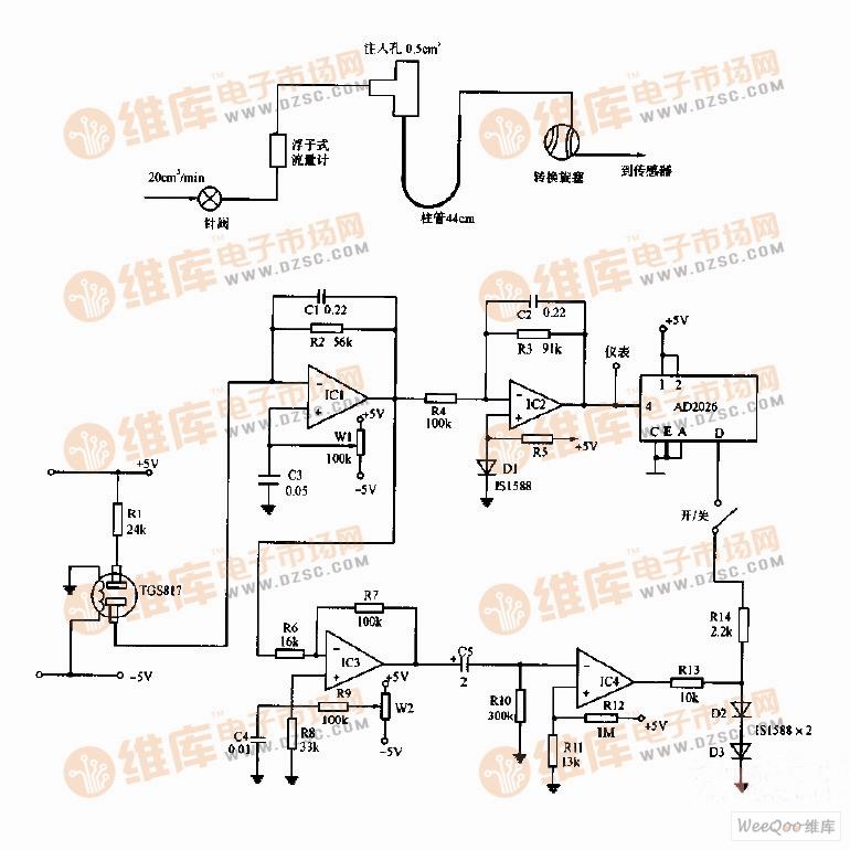 简易气体色谱仪的流路系统和电路图