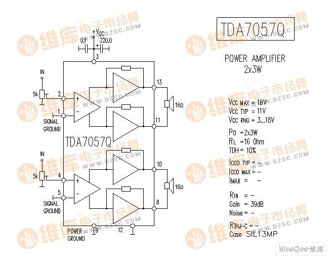 TDA7057Q 音响IC电路图