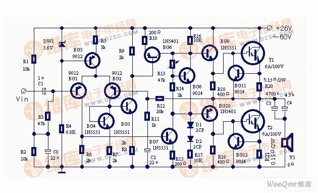 使用大功率达林顿管的实用功率放大器电路图