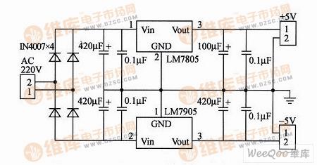 LM7805和LM7905构成的正负电压输出电路图图片