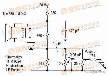 简单400mW单声道功率放大电路图