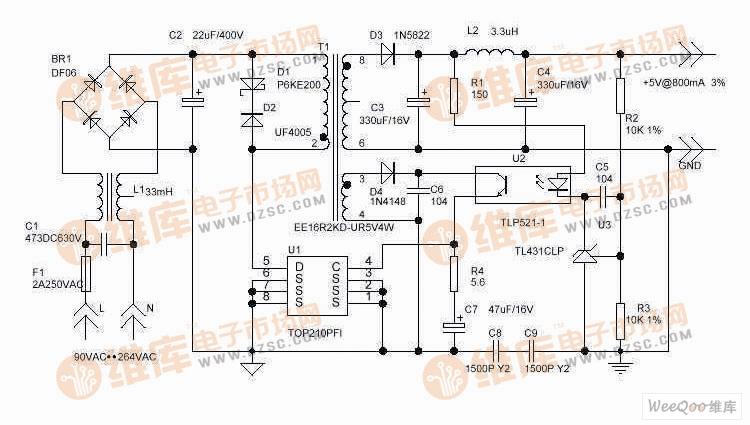 用的4W开关型5V直流稳压电源的电路图-5V 6A开关稳压电源电路图图片