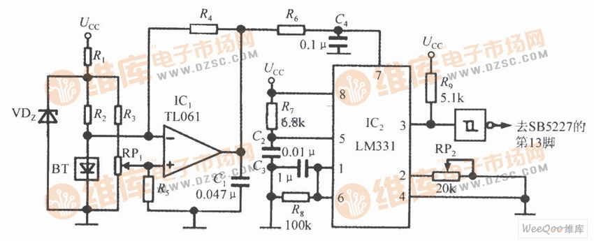 SB5527构成的温度检测电路图