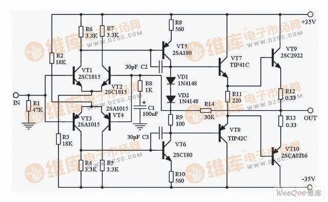 全互补晶体管功放制作电路图