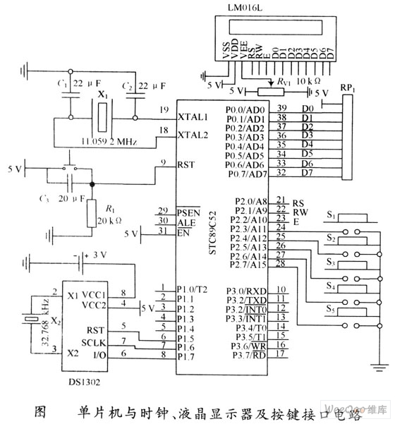 单片机与液晶显示器及按键接口电路图