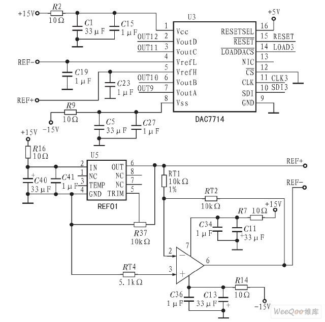 DAC7714的接口电路图