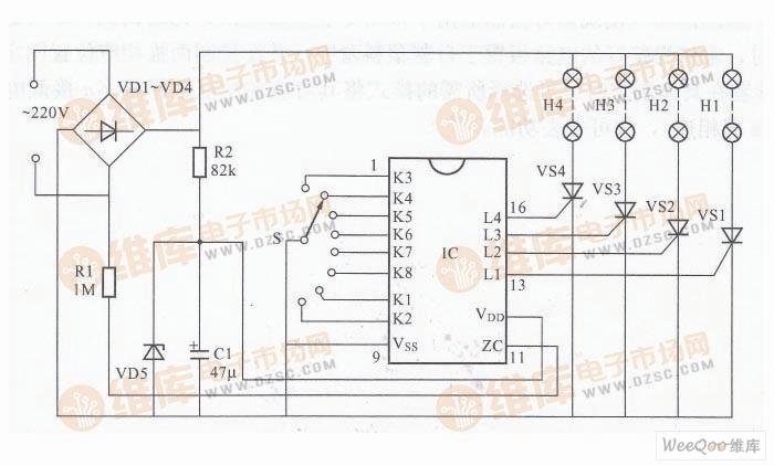 彩灯控制器电路图灯光