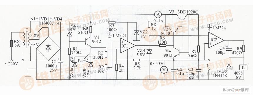 0~12v可调直流稳压电源电路图