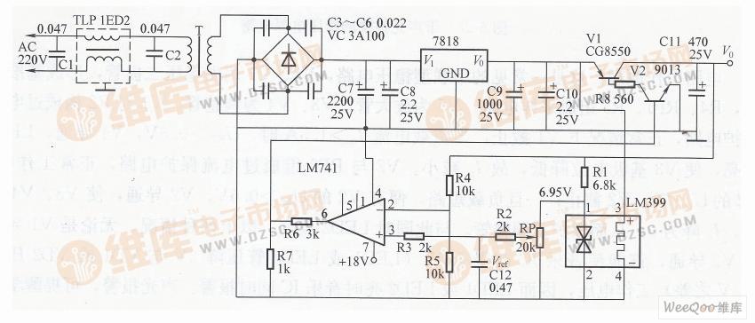 2a手机充电器电路图_基于伺服式集成稳压电源电路图-稳压电源-维库电子市场网