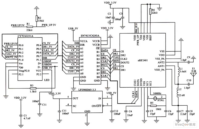 nRF2401与CY7CS323接口电路图