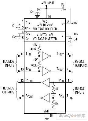 用二个三极管设计的RS-232串口接口电路图