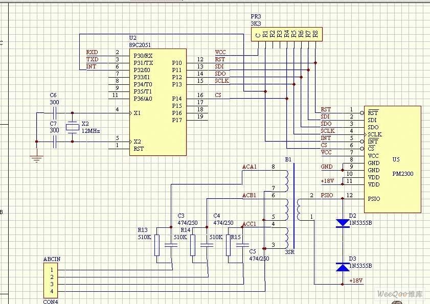 电力载波芯片PM2300与89C2051的接口电路图