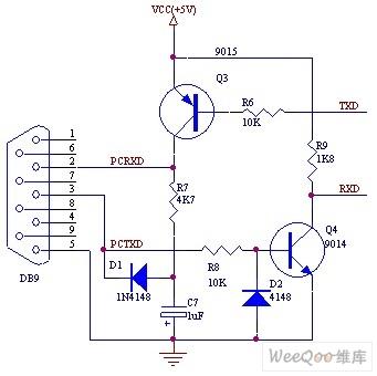 三极管组成的RS232接口电路图
