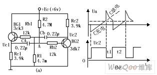 互补管多谐振荡电路图