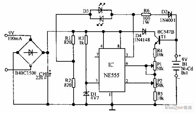 自动Ni-Cd电池充电器电路图