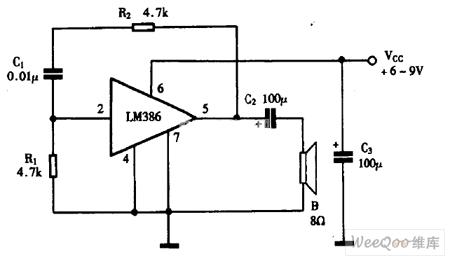 巧用LM386作音频振荡器电路图