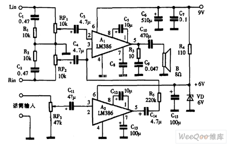 巧用LM386作卡拉OK消声器电路图
