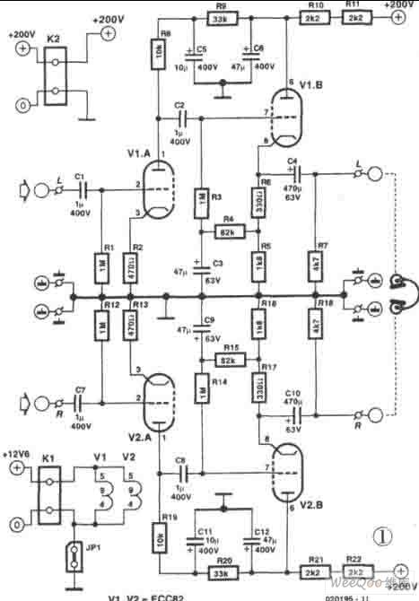 ECC822电子管组成的耳机放大器电路图