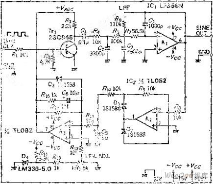 频率和振幅稳定的正弦波输出电路图