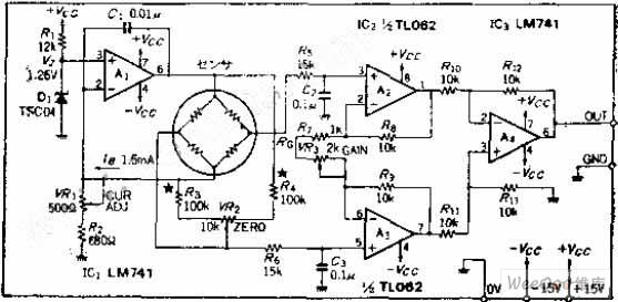 恒定电流驱动的电桥式传感器驱动/放大电路图