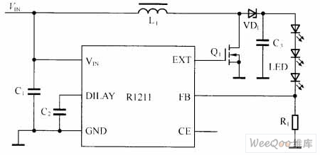 R1211驱动白光LED的电路图
