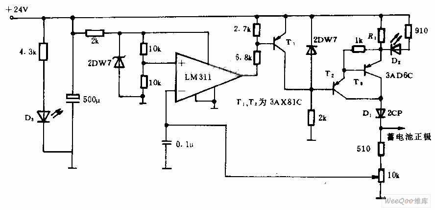 自动控制、恒流充电的镉镍蓄电池充电电路图