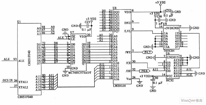 单片机C8051FC40扩展FM20L08扩展电路图