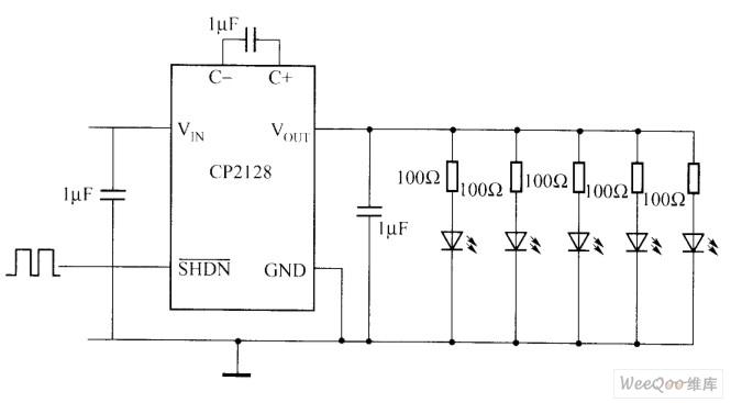 CP2128驱动白光LED电路图