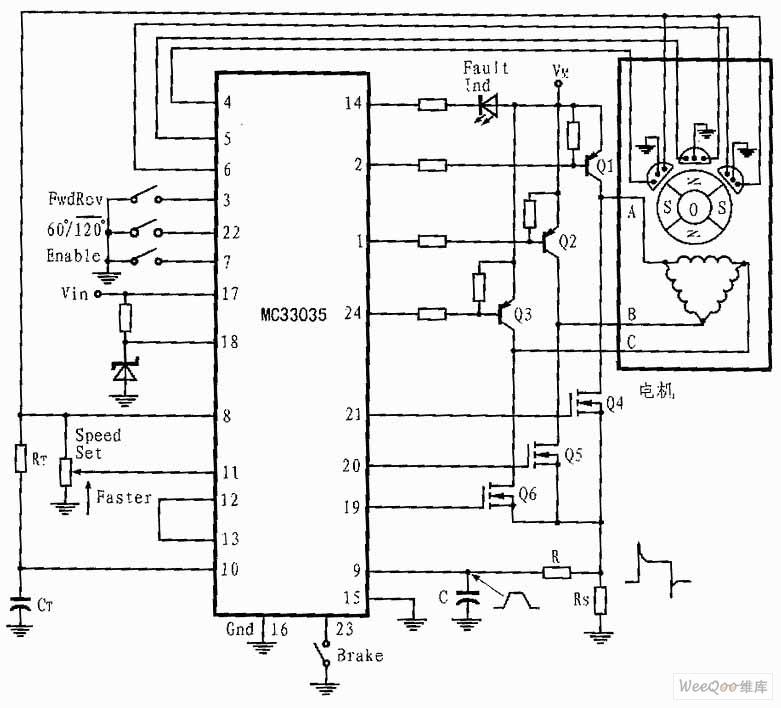 MC33035组成的三相六步电机控制电路图