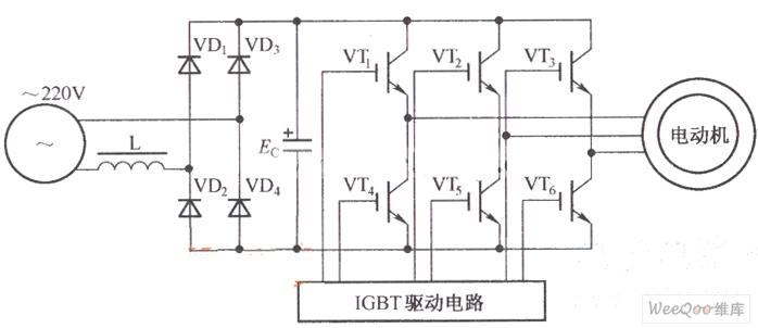变频器的控制驱动主电路图