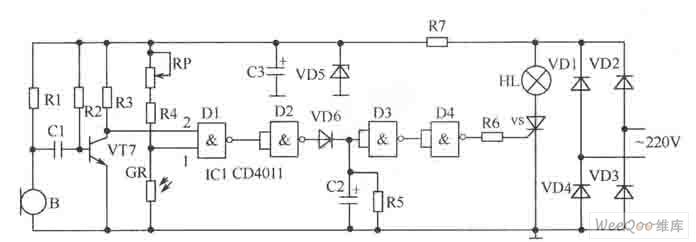 一种声光双控延迟节电照明灯电路图