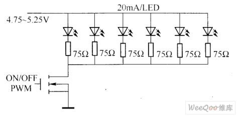 利用固定偏置电压和限流电阻驱动LED电路图