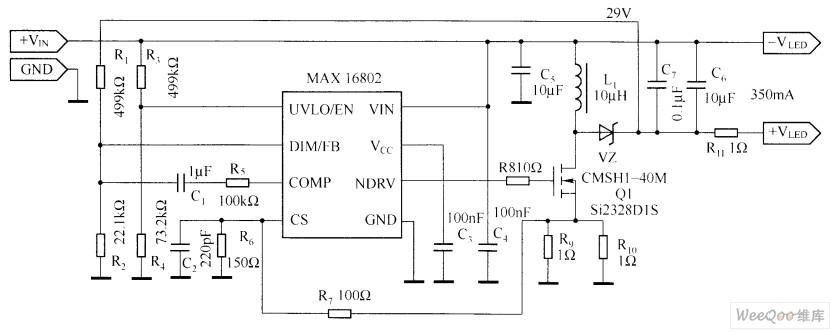 MAX16802的典型应用电路图