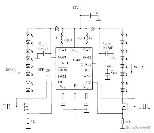 采用LT3486的汽车LED驱动器电路图
