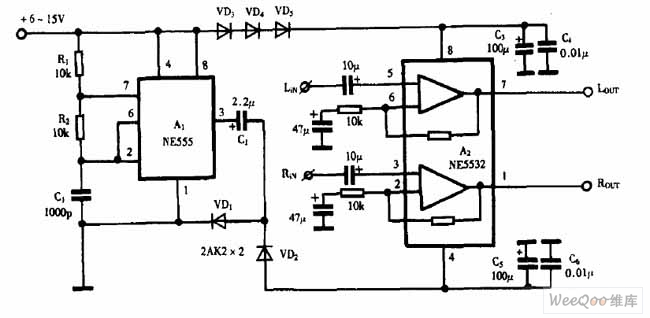 巧用NE555作负电压发生器电路图-555 4 1 2位数字电压表电路图片