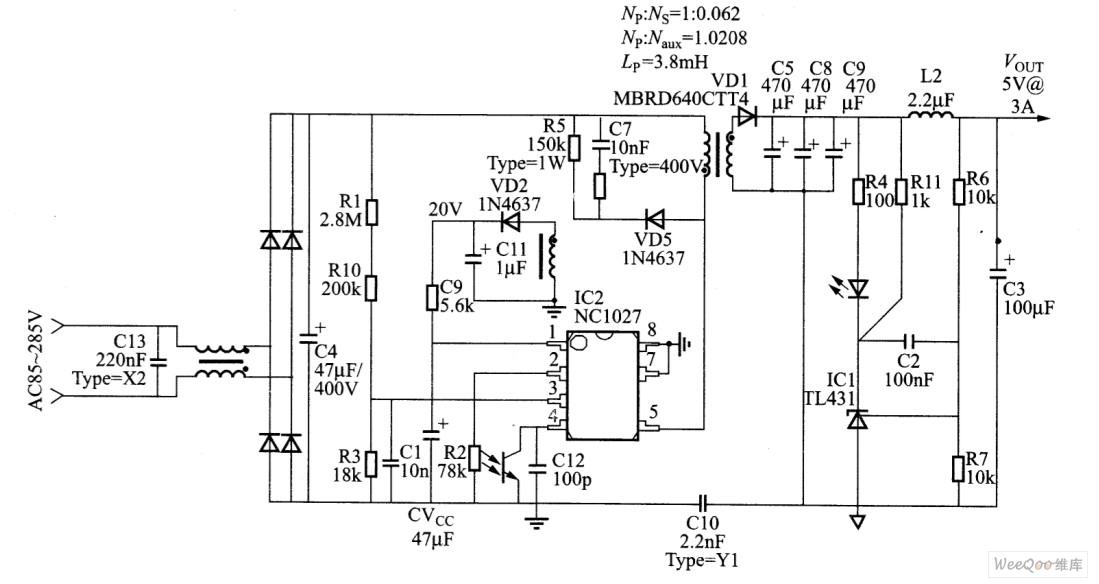采用NCP1027制作待机的完整电路图