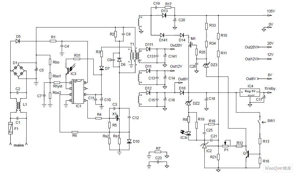 采用NCP1337设计160 W CRT电视电源电路图