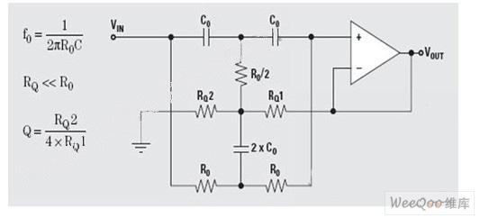 双T陷波滤波器拓扑结构图