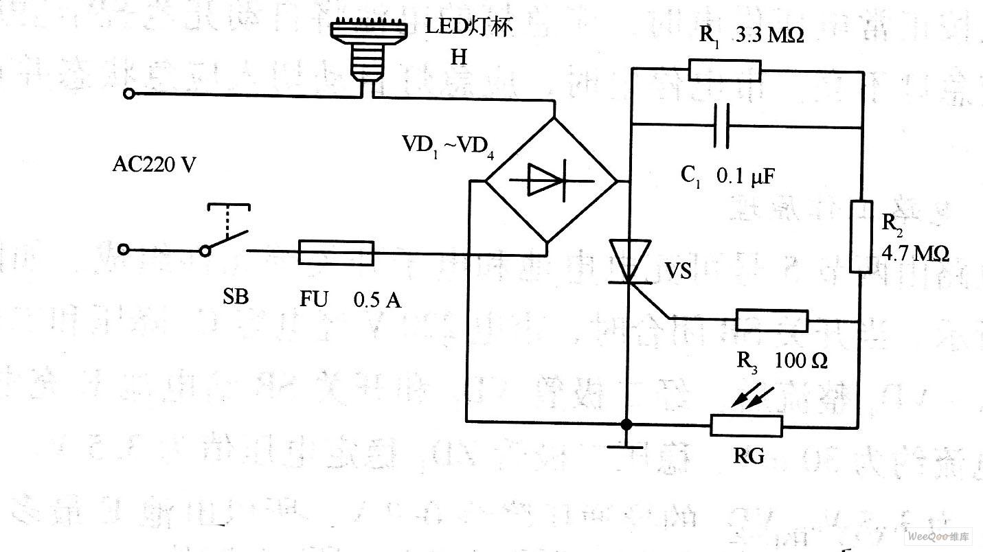 LED光控自动照明灯电路图
