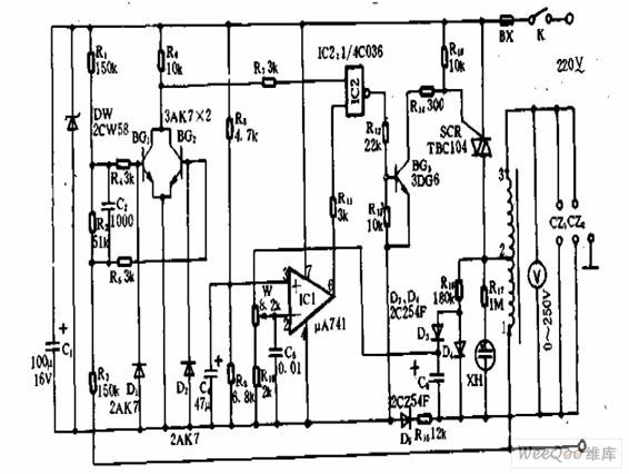 零触发交流稳压电源电路图片