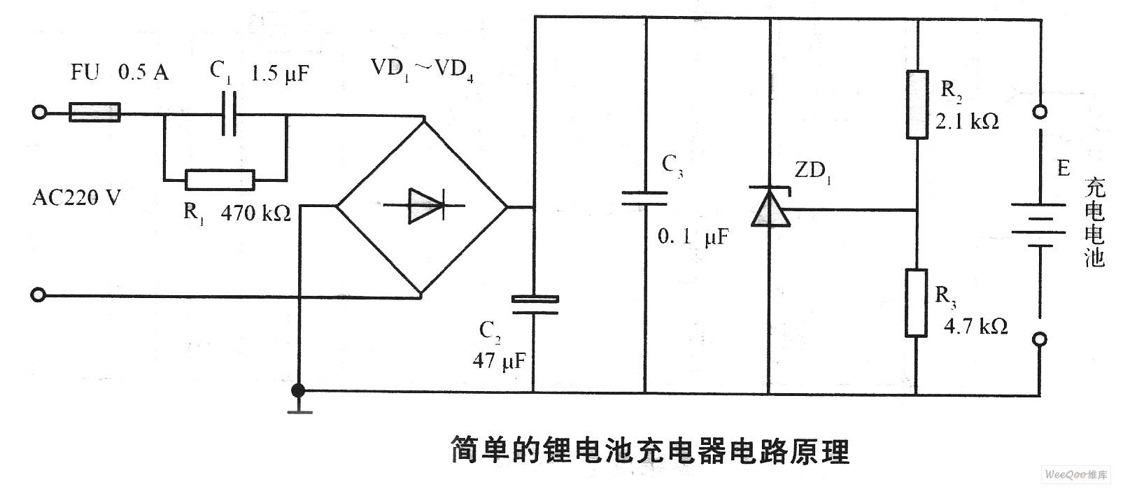 如图为简单的锂电池充电器电路原理。220 V交流电压经过电容C1降压、二极管VD1~VD4整流、电容C2滤波后,将充电电流限制在70 mA左右。当电池电压低于4.2 V时,ZD关断,电流全部充入电池。当电池电压升高到4.2 V时,ZD开始导通发挥分流作用。由于充电电流较小,故充电时间较长。电路中,电阻R2和R3的阻值精度要求很高,为l%的误差。 来源: