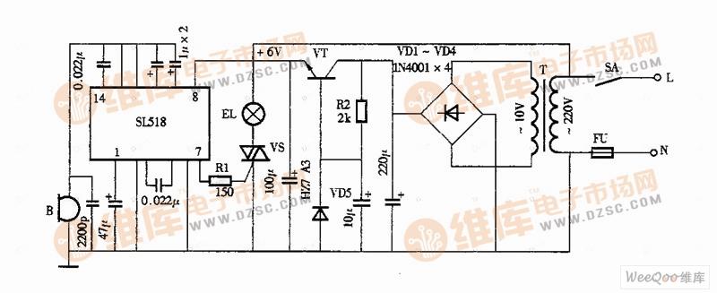 声控照明灯电路图(SL518)