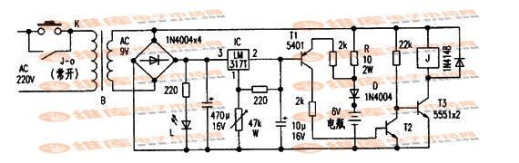 6V电瓶自动充电器电路