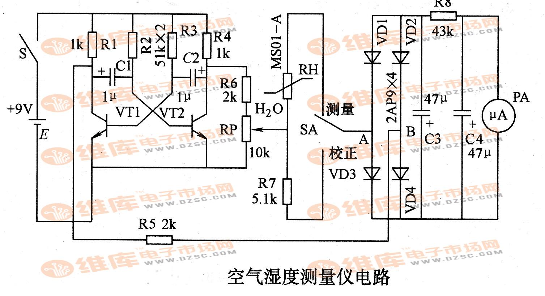 空气湿度测量仪电路