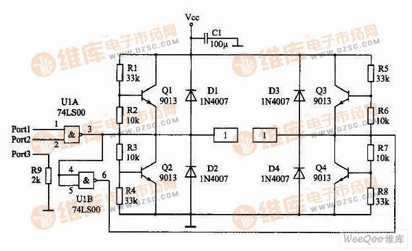 直流双向调速电机驱动电路   输入与电平转换部分:   输入信号线由Port引入,Port1脚是电机方向信号输入端,Port2脚是PWM信号输入端,Port3脚是地线。注意Port3脚对地连接了一个2k的电阻。当驱动板与单片机分别供电时,这个电阻可以提供信号电流回流的通路。当驱动板与单片机共用一组电源时,这个电阻可以防止大电流沿着连线流入单片机主板的地线造成干扰。或者说,相当于把驱动板的地线与单片机的地线隔开,实现一点接地。电容C1防止电机突然启动造成电压的突降。   与非门U1A实现PWM信号与电